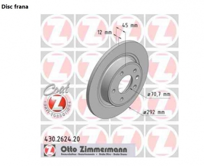 Set disc frana spate Opel Astra J Zimmermann