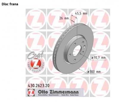 Set disc frana fata Opel Astra J J60 Zimmermann