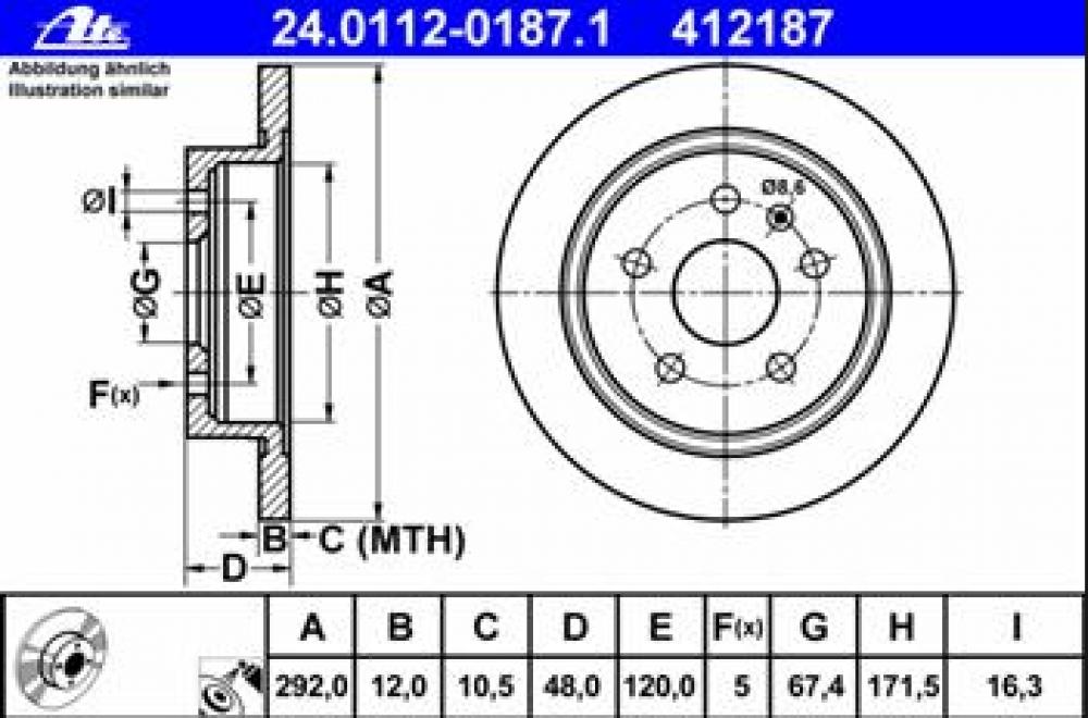 Set discuri frana spate Insignia 292mm J60 ATE