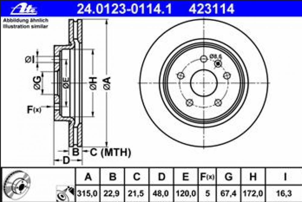 Set discuri frana spate Insignia 315mm J61/62/64 ATE