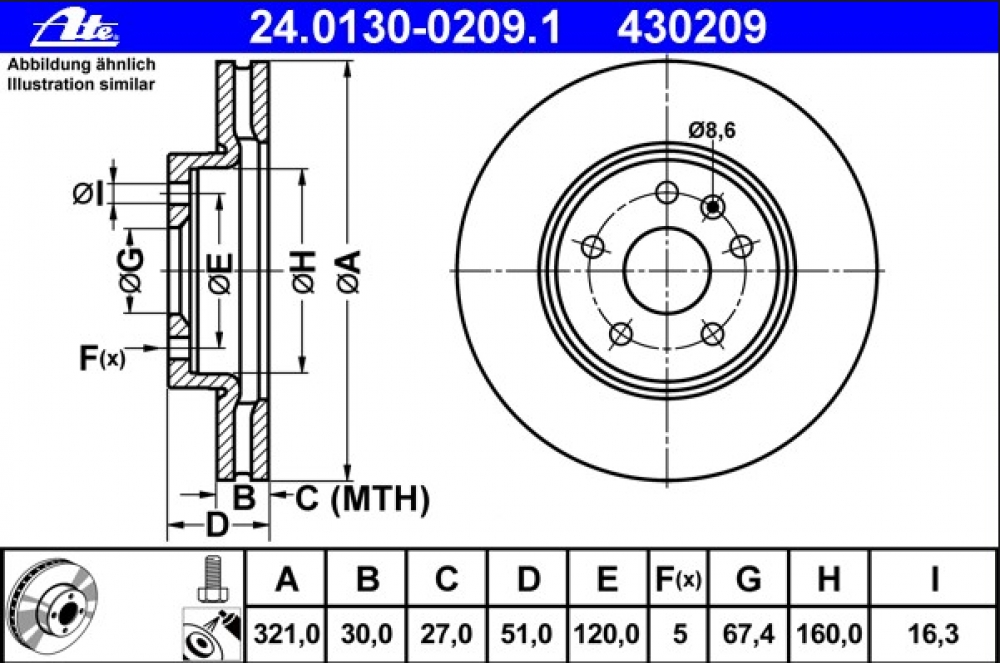 Set discuri frana fata Insignia 321mm ATE