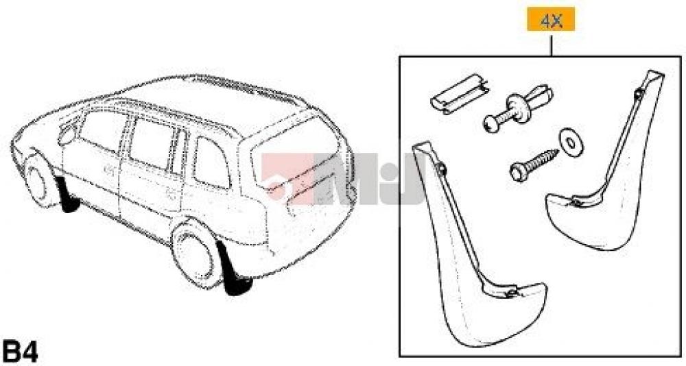 Set bavete noroi spate Opel Astra G Carvan GM
