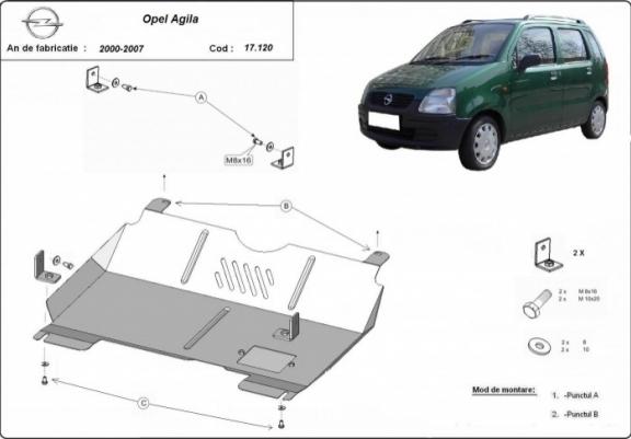 Scut motor metalic Opel Agila 1.0 1.2 1.3D 2000-2007