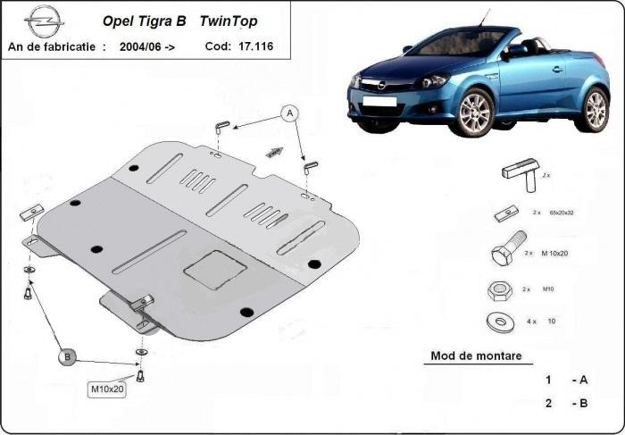 Scut motor metalic Opel Tigra fabricat dupa 2004