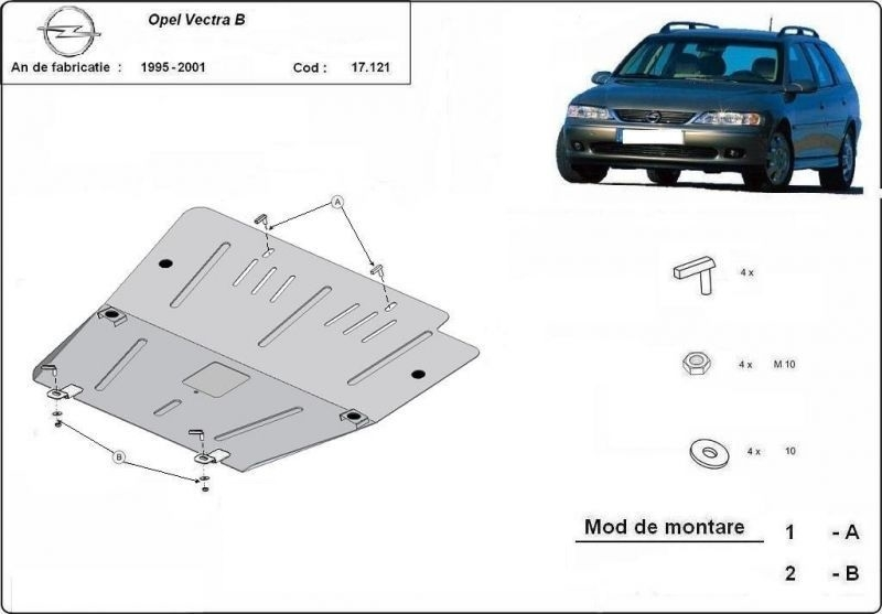 Scut motor metalic Opel Vectra B dupa 1995