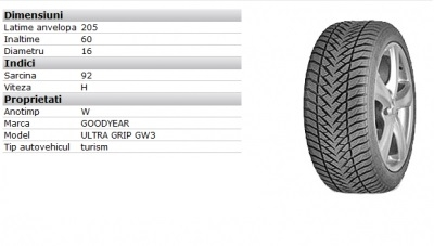 Anvelopa Iarna Chevrolet Cruze Goodyear Ultra Grip Gw3 205/60/r16