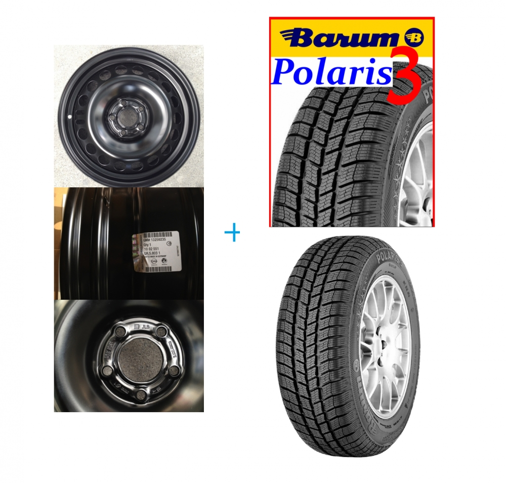 Kit janta si anvelopa Barum Polaris 3 205/60 R16 Opel Astra J diesel 5x115 DOT 2016